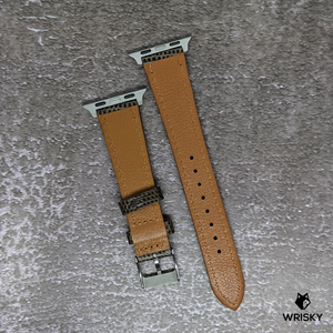 #258 (Suitable for Apple Watch) Brown Lizard Leather Watch Strap with White Stitch