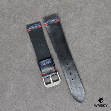 Load image into Gallery viewer, #198 20/18mm Deep Sea Blue Ostrich Leg Leather Watch Strap With Red Vintage Stitch