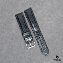 Load image into Gallery viewer, #209 20/18mm Black Python Leather Watch Strap with Black Stitches