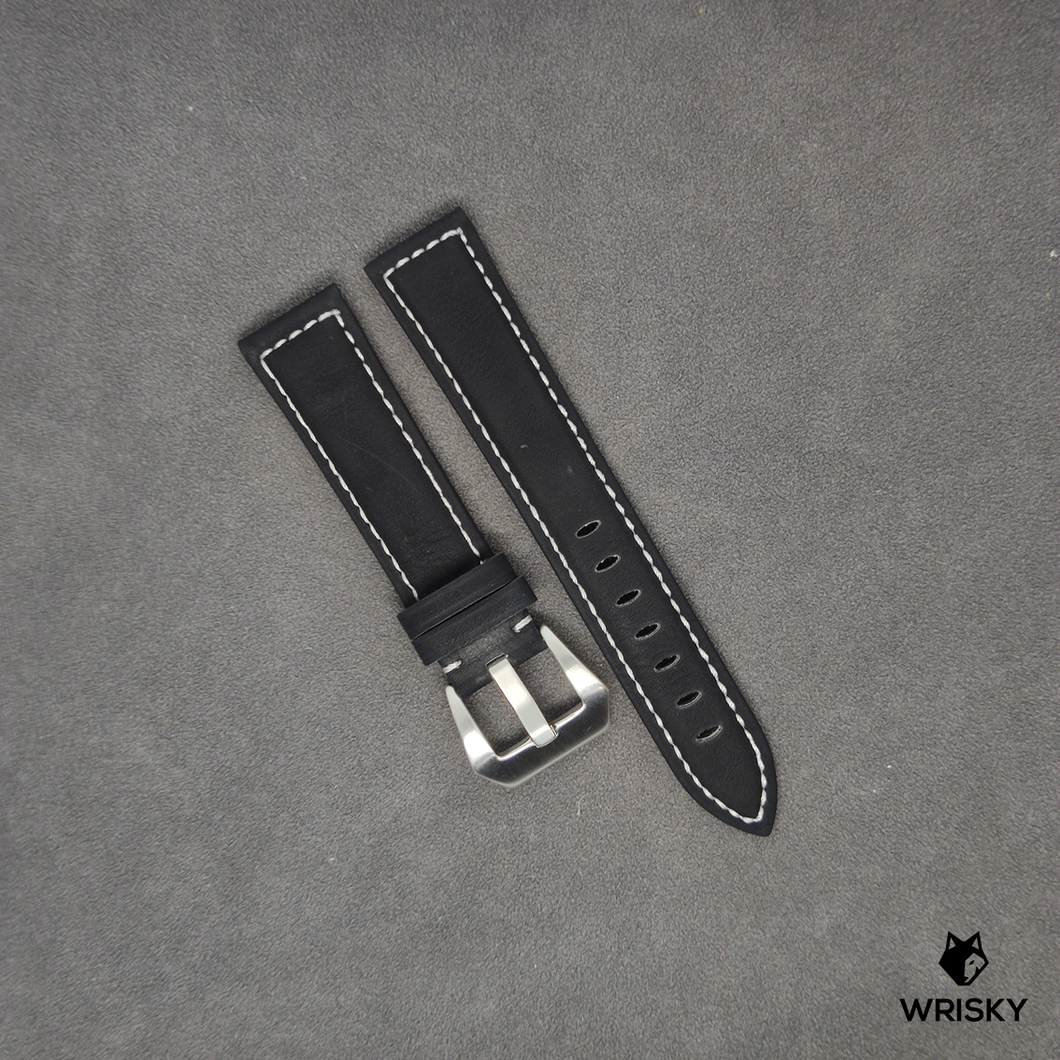 Genuine Leather Padded Strap in Black