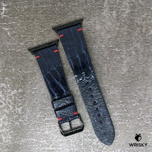 #285 (Suitable for Apple Watch) Custom Made Deep Sea Blue Ostrich Leg Leather Watch Strap with Red Vintage Stitches