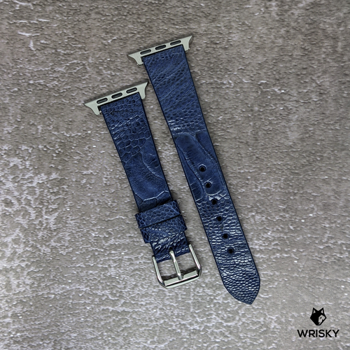 #228 (Suitable for Apple Watch) Deep Sea Blue Ostrich Leg Leather Watch Strap with Red Vintage Stitch