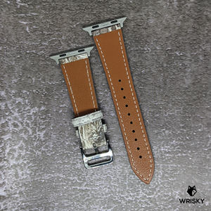 #261 (Suitable for Apple Watch) White Himalayan Crocodile Leather Watch Strap With Cream Stitches