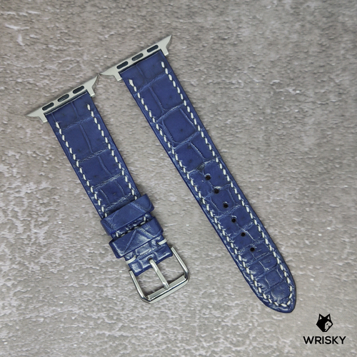 #104 (Apple Watch) Blue Crocodile Belly Leather Strap with white stitch