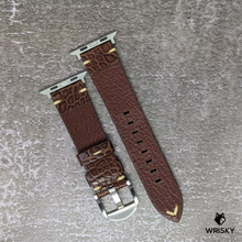 Load image into Gallery viewer, #158 (Apple Watch) Brown Crocodile Belly Leather Strap with Cream Vintage Stitch