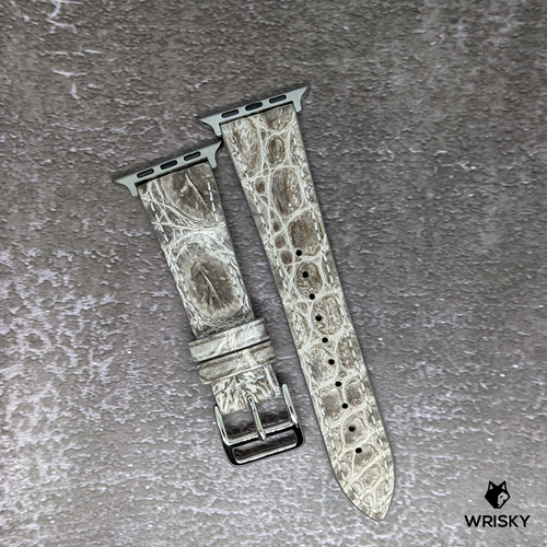 #262 (Suitable for Apple Watch) White Himalayan Crocodile Leather Watch Strap With Cream Stitches