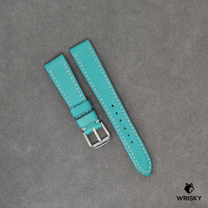 #37 17/14mm Teal Epsom Leather Watch Strap With White Stitch (with laser etching)