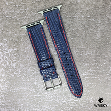 Load image into Gallery viewer, #137 (Apple Watch) Deep Sea Blue French Lizard Watch Strap With Red Contrast Stitch