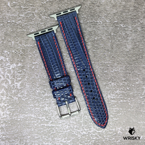 #137 (Apple Watch) Deep Sea Blue French Lizard Watch Strap With Red Contrast Stitch