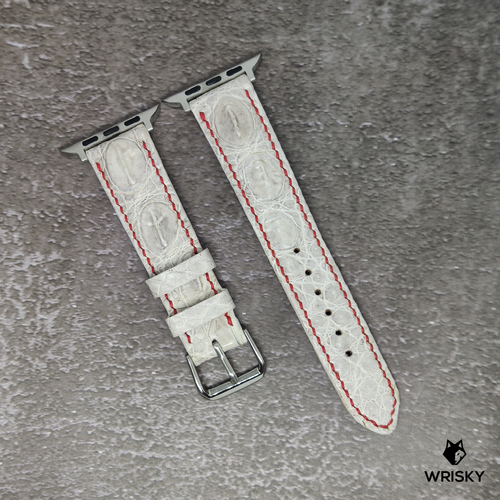 #106 (Apple Watch) White Hornback Crocodile Leather Watch Strap with Red Stitch