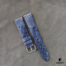 Load image into Gallery viewer, #41 20/18mm Deep Sea Blue Ostrich Leg Leather Watch Strap With Red Vintage Stitch