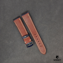 Load image into Gallery viewer, #45 Nuback Washed Out Deep Dark Blue Ostrich Leg Leather Watch Strap with Cream Stitch