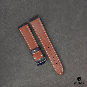 #45 Nuback Washed Out Deep Dark Blue Ostrich Leg Leather Watch Strap with Cream Stitch