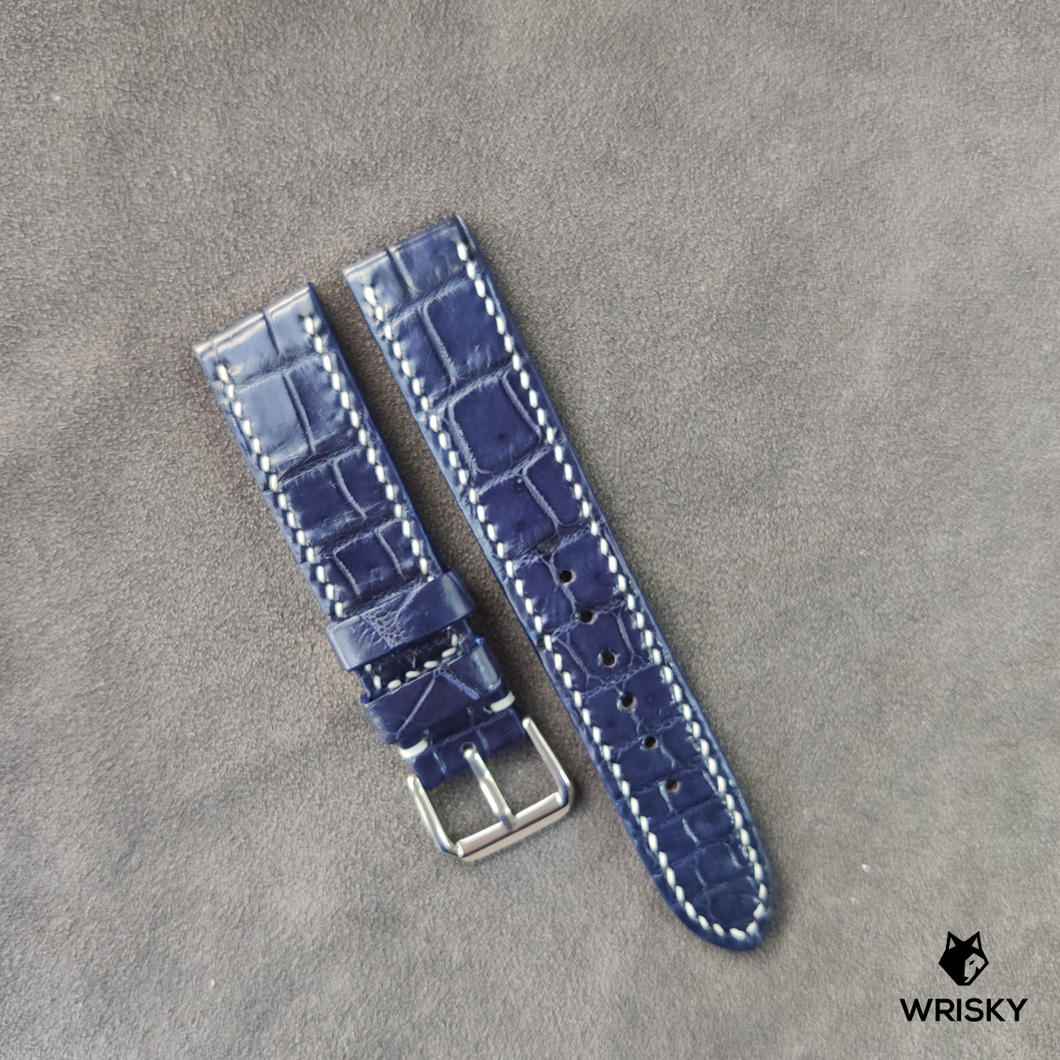 #44 20/18mm Blue Crocodile Belly with White stitch Leather Strap