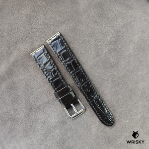 #39 19/16mm Blacked Out Crocodile Belly with Black stitch Leather Strap