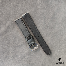 Load image into Gallery viewer, #39 19/16mm Blacked Out Crocodile Belly with Black stitch Leather Strap
