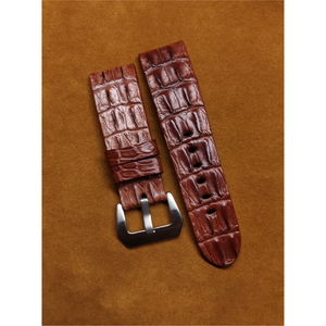 #14 24mm/22mm Copper Brown Double Horned Back Crocodile Leather Watch Strap