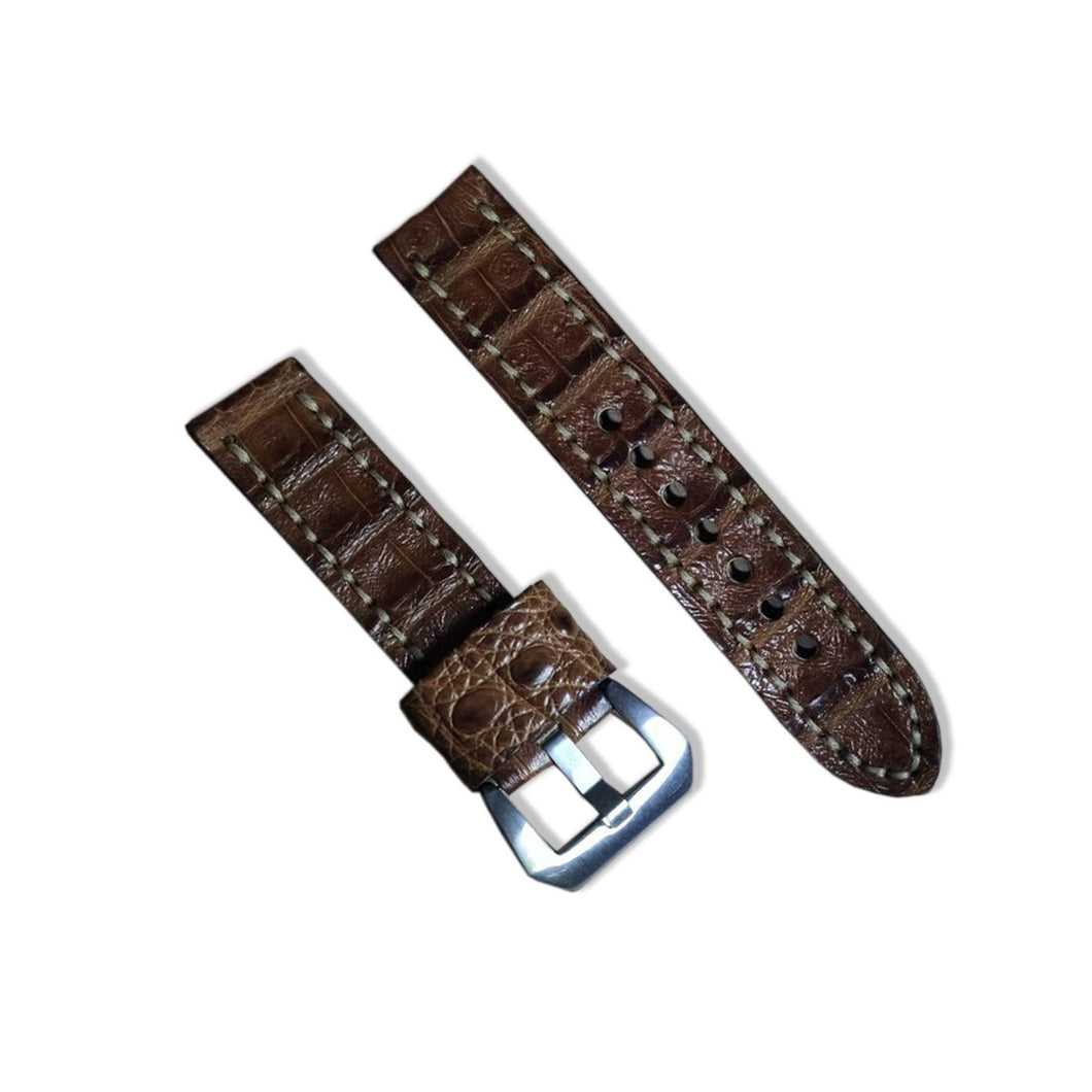 #1 22/22mm Brown Nile Crocodile Hand Made Leather Strap