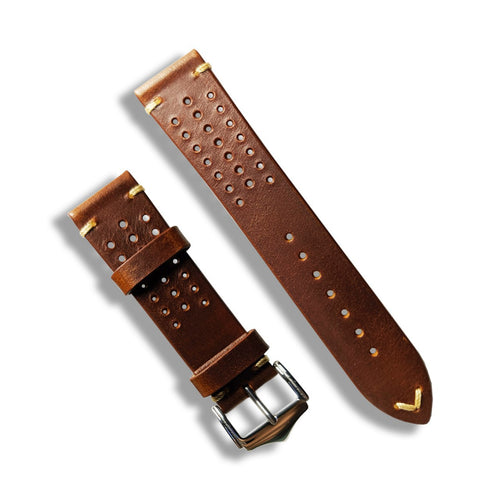 Premium Oil Waxed Leather Rally Strap in Brown