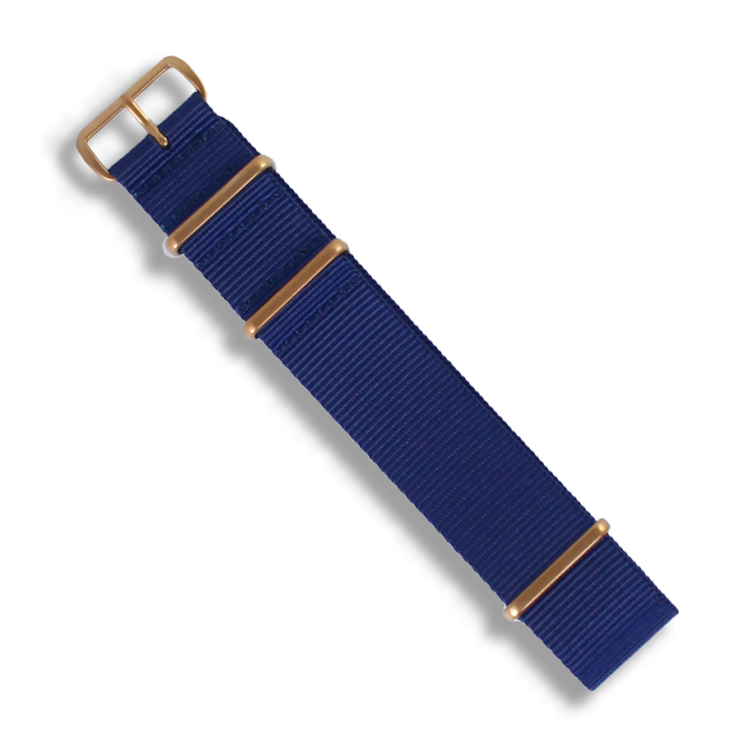 Premium NATO Bronze Buckle (Navy Blue) - Wrisky.co