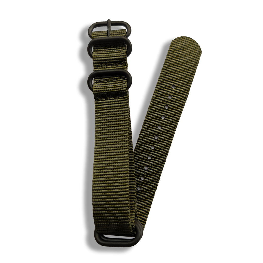 Khaki Green Military Grade Zulu with Black Buckle
