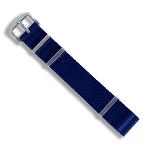 Seat Belt NATO (Royal Navy Blue with Brushed Silver Buckle) - Wrisky.co