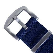 Load image into Gallery viewer, Seat Belt NATO (Royal Navy Blue with Brushed Silver Buckle) - Wrisky.co