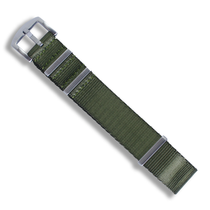Seat Belt NATO (Olive Green with Brushed Silver Buckle) - Wrisky.co
