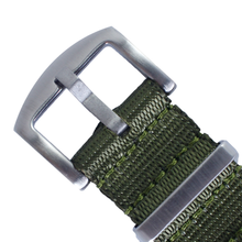 Load image into Gallery viewer, Seat Belt NATO (Olive Green with Brushed Silver Buckle) - Wrisky.co