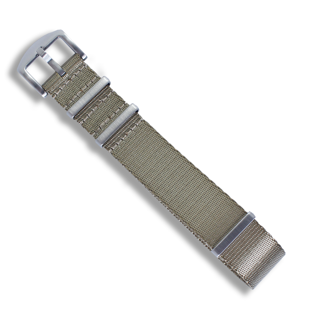 Seat Belt NATO (Sandbag Brown with Brushed Silver Buckle) - Wrisky.co