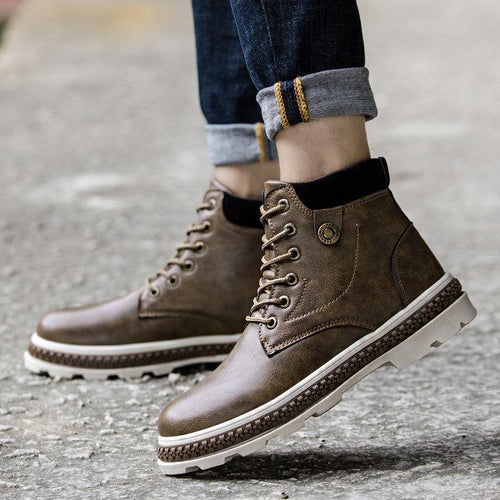 Men Outdoor Round Toe Slip Resistant Casual Ankle Boots