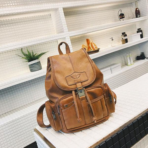 Vintage PU Leather Shoulder Bag School Backpack