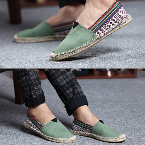 Men National Style Canvas Hand Stitching Slip-On Casual Espadrilles