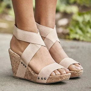 Women Wedge Heel Sandal Peep Toe Elastic cloth Cross Bandage Sandals