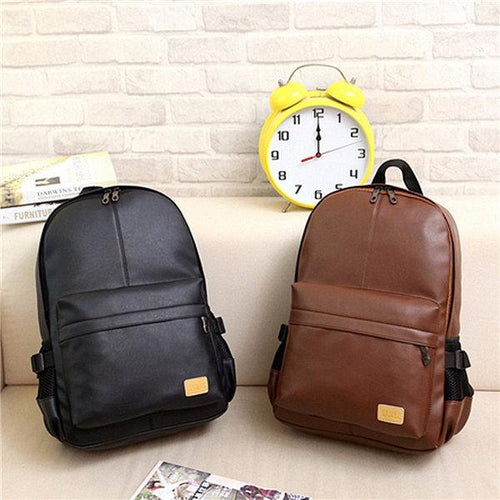 Casual Men PU Leather Backpack Laptop Outdoor School Bookbag