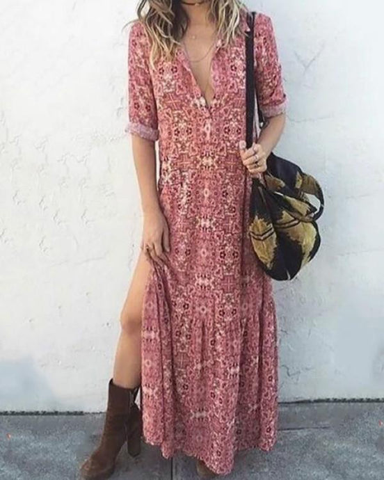 Pink Women Daily Long Sleeve Printed Floral Fall Summer Dresses