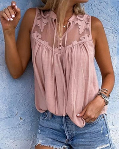 Women Chiffon Stitching Lace V-Neck Sleeveless Shirts Tops