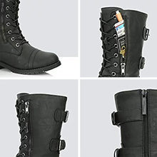 Load image into Gallery viewer, Women Military Combat Lace up Mid Calf Hide Credit Card Knife Money Wallet Pocket Boots