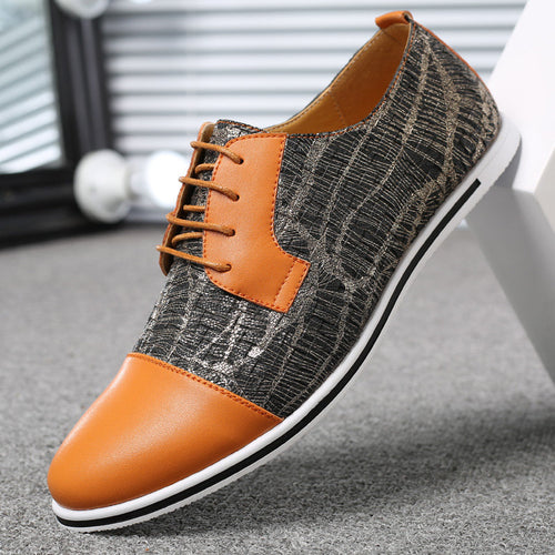 Large Size Men Cap Toe Color Blocking Lace Up Casual Oxfords