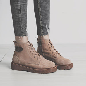 Womens Daily Buckle Lace-up Combat Sneakers Boots
