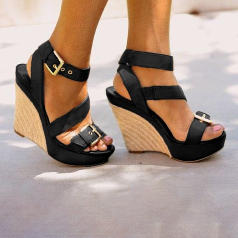 1464017e1a84d ... Load image into Gallery viewer, Women Platform Open Toe Wedge Sandals  Casual Comfort Adjustable Buckle