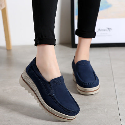 c02a5f578311 Large Size Women Breathable Faux Suede Round Toe Slip on Platform ...
