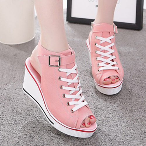 Women's Sneaker High-Heeled Fashion Canvas Shoes High Pump Lace Up Wedges Side Zipper Shoes
