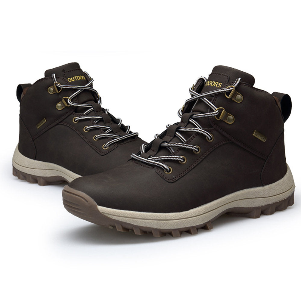 Men Outdoor Slip Resistant Waterproof Lace Up Hiking Boots