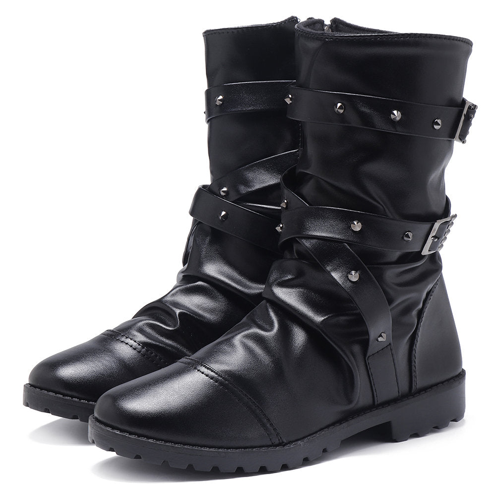 Men Cap Toe High Top Zipper Metal Buckle Casual Boots