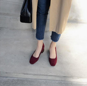 Women Causal Suede Slip On Booties Chunky Heel Sandals