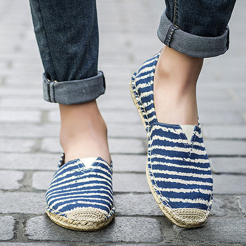 Canvas Stripe Color Block Flats Loafers