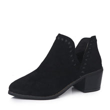 Load image into Gallery viewer, Pointed Toe Deep V Side Closure Chunky Heel Boots