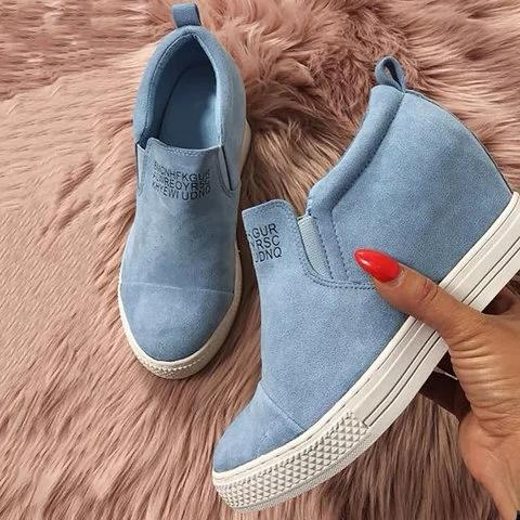 f69f80da40fdbb Fashion Letter Slip On Wedge Sneakers Faux Suede Wedge Heel Casual ...