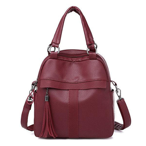 Multi-function Handbag Travel Backpack Soft Leather Crossbody Bag